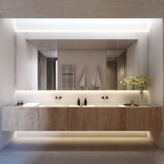Island life – Bathroom architecture, bathroom, bathroom accessory, bathroom cabinet, floor, interior design, sink, tap, wall, gray
