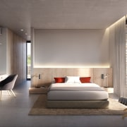 Island life – Bedroom suite architecture, bed frame, bedroom, ceiling, floor, furniture, house, interior design, room, wall, gray