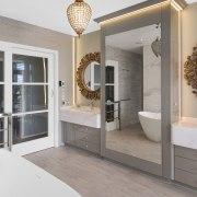 Inner Sanctuary 3 bathroom, home, interior design, room, window, gray