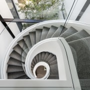 Curved staircase detail – contemporary new home by angle, architecture, daylighting, line, stairs, structure, window, gray, white