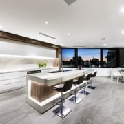 Kitchen plus view – contemporary new home by floor, interior design, kitchen, gray