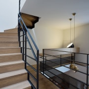 Staircase and office space suspended above the hopper architecture, baluster, building, daylighting, floor, guard rail, handrail, hardwood, home, house, interior design, iron, loft, metal, property, real estate, room, stairs, wood, wood flooring, gray