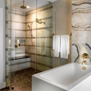 Lights on dimmers in the shower stall are