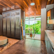 Given the moist tropical setting, stainless steel mesh architecture, bathroom, building, ceiling, estate, floor, furniture, home, house, interior design, property, real estate, room, brown, gray