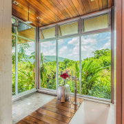 This exotic master ensuite features a timber floor architecture, bathroom, building, ceiling, daylighting, door, floor, glass, hardwood, home, house, interior design, property, real estate, room, window, gray, brown