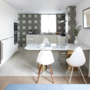 Patterned ceramic tiles in the kitchen provide contrast architecture, chair, floor, furniture, home, interior design, living room, room, table, white