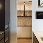The cabinetry – in Resene Nocturnal – works architecture, building, cabinetry, countertop, cupboard, door, floor, flooring, furniture, glass, hardwood, house, interior design, kitchen, property, room, tile, wood flooring, white