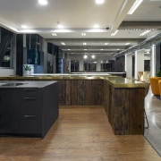 The Gaggenau showspace includes dramatic choices of island gray, black