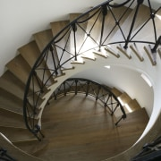 The staircase is a sculptural event in its