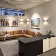 The spacious living room in the reworked residence.