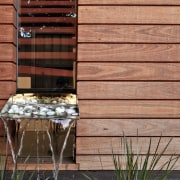 Inside/outside water feature - Experiment in the craft facade, house, lumber, siding, wall, window, wood, wood stain, red, orange
