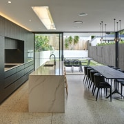 The kitchen is positioned at the pivotal point