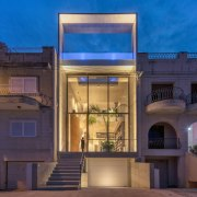 Casa B is as eye-catching by night as architecture, building, estate, facade, home, house, lighting, mansion, night, property, real estate, residential area, sky, blue