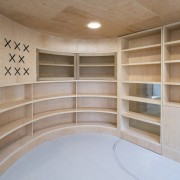 Murado Elvira Baiona Library - architecture | furniture architecture, furniture, plywood, shelf, shelving, wood, gray, brown