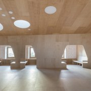 Murado Elvira Baiona Library - architecture | ceiling architecture, ceiling, daylighting, floor, flooring, interior design, lobby, table, wood, brown, gray