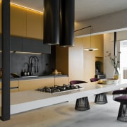 The burnt cement on the floor and some architecture, building, cabinetry, ceiling, countertop, design, floor, furniture, home, house, interior design, kitchen, living room, loft, material property, property, room, table, black