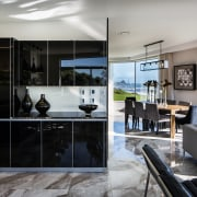 High gloss, textural Italian porcelain floor tiles emulate interior design, kitchen, window, gray, black