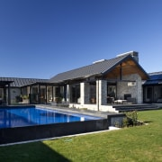 Nz2812 Mason And Wales 0123282 - architecture | architecture, backyard, cottage, estate, facade, farmhouse, home, house, property, real estate, residential area, roof, siding, sky, swimming pool, villa, window, blue