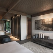 While this renovated bedroom, bathroom and dressing room architecture, ceiling, house, interior design, real estate, room, black, gray