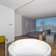 Opening the bathroom to the bedroom makes this architecture, ceiling, house, interior design, real estate, room, white, gray
