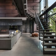 ​​​​​​​A steel staircase with concrete treads gives access architecture, house, interior design, steel stairs, black, concrete, home, Altus Architecture