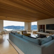 ​​​​​​​The big picture – the open-plan nature of architecture, ceiling, daylighting, estate, floor, house, interior design, living room, penthouse apartment, property, real estate, brown, wood ceiling, ceiling