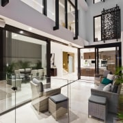 This outdoor space was defined by cantilevering the condominium, courtyard, house, interior design, living room, lobby, property, real estate, white, gray
