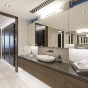 In this ensuite, two banks of wall-length mirror-fronted interior design, real estate, gray
