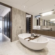 No expense spared in the lacquered, custom compartments architecture, floor, interior design, real estate, sink, gray