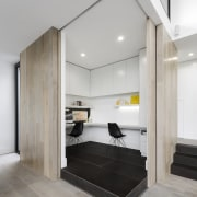 ​​​​​​​Box office draw – part of a wider timber floor, flooring, furniture, office, LSA Architects