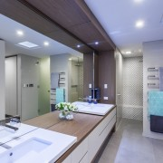 ​​​​​​​This master ensuite in an award-winning home includes architecture, bathroom, ceiling, countertop, daylighting, interior design, kitchen, real estate, room, gray