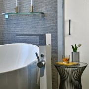 Clean-lined German tapware adds to the crisp aesthetic bathroom, bathroom accessory, ceramic, interior design, plumbing fixture, room, sink, tap, tile, gray
