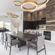 Designed by Marketa Ramage of Studio Italia to countertop, cuisine classique, dining room, floor, interior design, kitchen, table, white