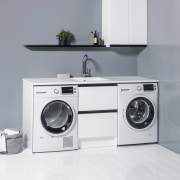 A contemporary Laundry range is also offered at clothes dryer, home appliance, laundry, laundry room, major appliance, product, washing machine, white, gray
