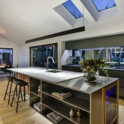 Designer Kira Gray created this kitchen with a architecture, countertop, interior design, kitchen, table, gray