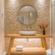 Symmetry plays a major role in creating a architecture, bathroom, flooring, interior design, plumbing fixtures, sink, tap, tiles, Resene, Natalie Bu Bois, tapware, travertine