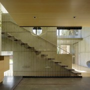 ​​​​​​​Just inside the entrance to this home, the architecture, balustrade, stairway, glass, handrail, house, interior design, FuTung Cheng, Cheng Design