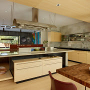 ​​​​​​​This kitchen contains two islands. Designer FuTung Cheng cabinetry, countertop, benchtop, interior design, kitchen, inner kitchen island, FuTung Cheng, Cheng Design