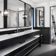 Classic detailing dovetails with modern design in this bathroom, black and white, tiled floor, flooring, bathroom design, Leon house, Dulux