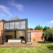 ​​​​​​​Clerestory windows maximise natural light in this contemporary architecture, backyard, home, house, property, residential area, home extension, entertaining area, Porter Architecture, bifold windows,