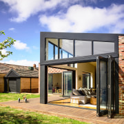 This contemporary living zone extension, part of a architecture, elevation, facade, home, house, property, residential area, Bifold window, Porter Architecture
