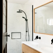​​​​​​​Existing bedrooms were given contemporary ensuite bathrooms, complete architecture, bathroom, home, interior design, plumbing fixture, tap, wall, white, ensuite, Porter Architecture, black hardware