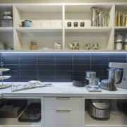 ​​​​​​​Black tiles in this scullery link to the countertop, Corian, Butlers Pantry, Kitchen designer, fyfe kitchens,  Kira Gray, interior design, kitchen