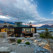 A transparent picture of glass walls and slender architecture, home, house, lake, landscape, mountain, Gary Todd Architecture