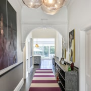 ​​​​​​​Classic detailing was restored in the hall and ceiling, home, interior design, hallway, Matt Brew Architect