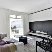 Modernising renovation creates open-plan living zone at rear villa, restored, interior design, living room, white, furniture, furnishing