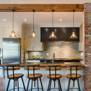 For this new kitchen in a traditional home, countertop, dining room, hardwood, interior design, kitchen, dining table, bar stools, lighting, appliance, kitchen