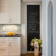 Family communication in this kitchen isn't with a cabinetry, floor, flooring, home, interior design, kitchen