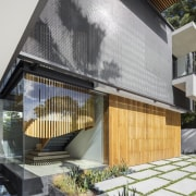 This home's staircase is set within a glass architecture, facade, home, house, SAOTA, entranceway, exterior