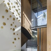Visitors to this home are not immediately aware architecture, glass, handrail, home, house, interior design, lobby, stairs, SAOTA